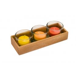 3-er Teelichthalter Set mit Votivgläsern