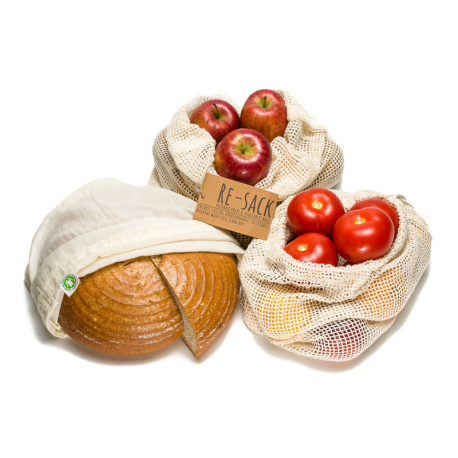 Plastikfreie Obst- & Gemüsebeutel 3er Set