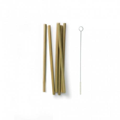 Bambus-Strohhalme 6-er Pack mit Reinigungsbürste