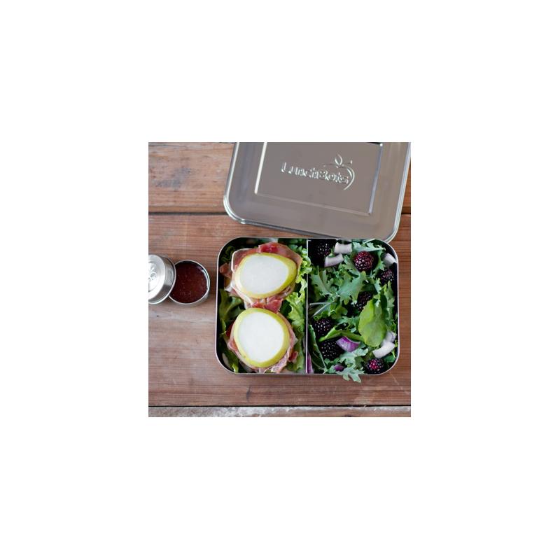 Praktische Bento Box mit Edelstahlsbeh/älter Die doppelschichtige Brotdose Fr/ühst/ücksbox Teiligem Besteck f/ür Schule Arbeit Picknick Reisen Unterwegs Kommt mit L/öffel Gabel Lunchbox Nordic Denim
